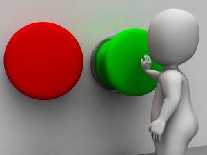 Pushing Green Button Showing Starting Or Choosing